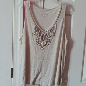 Cute tank top with beading